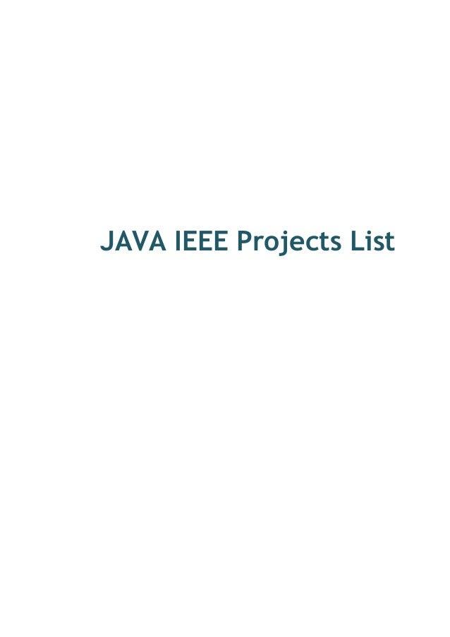 JAVA IEEE Projects List