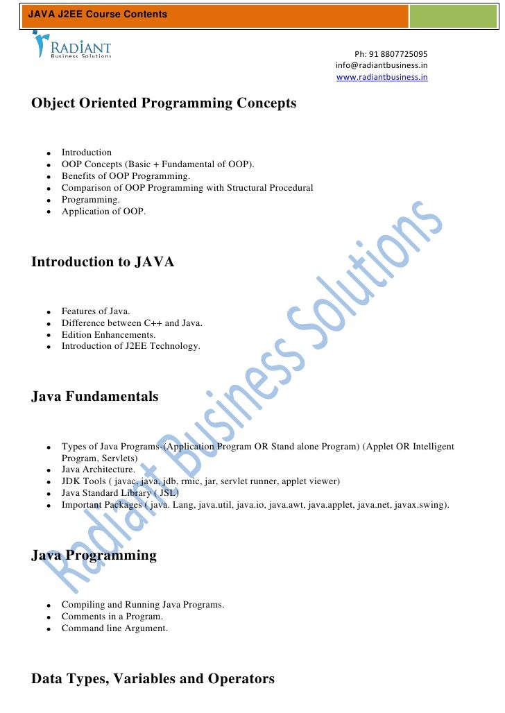 JAVA J2EE Course Contents                                                                               Ph: 91 8807725095 ...