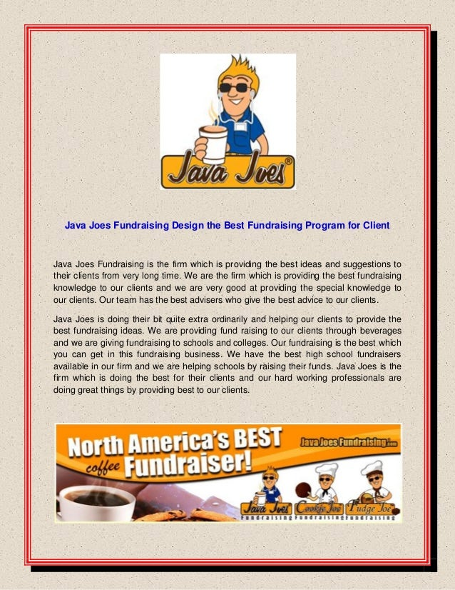 Java joes fundraising design the best fundraising program for