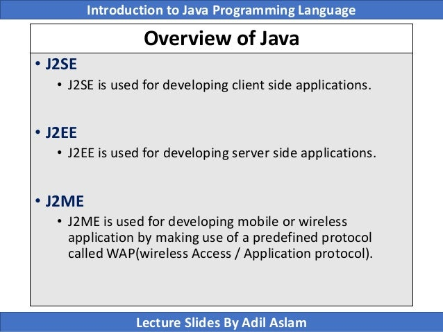 Introduction To Java Programming Lecture No  1