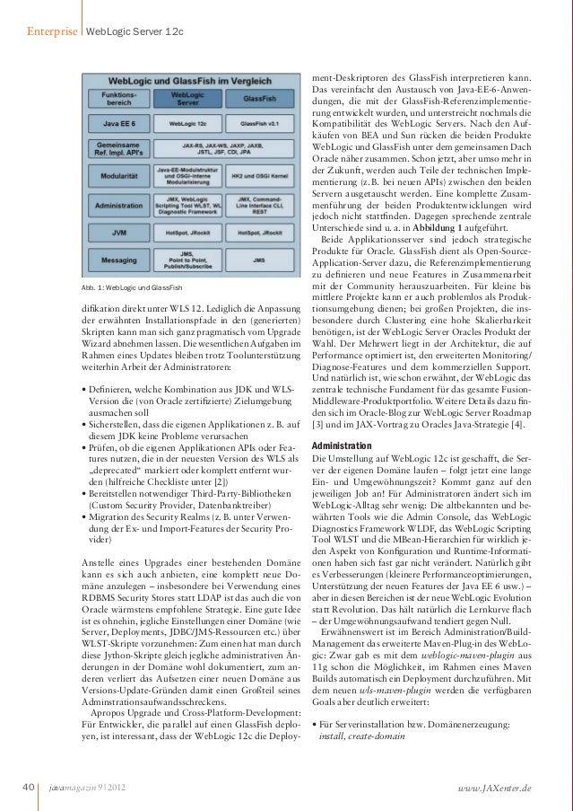 Enterprise WebLogic Server 12c  Abb. 1: WebLogic und GlassFish  dikation direkt unter WLS 12. Lediglich die Anpassung  der...