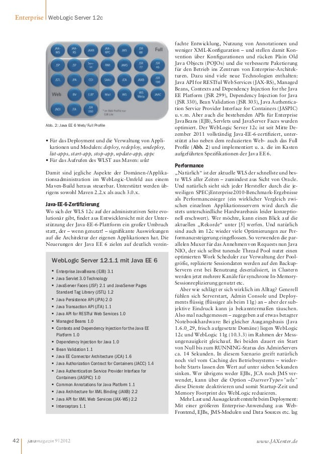 Enterprise WebLogic Server 12c  Abb.2: Java EE 6 Web/Full Prole  • Für das Deployment und die Verwaltung von Appli-katione...