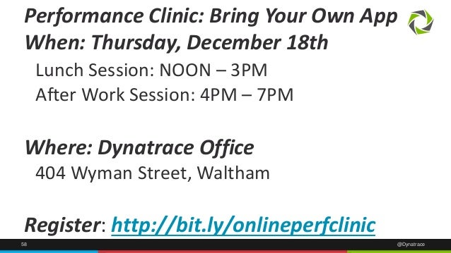 Performance Clinic: Bring Your Own App  When: Thursday, December 18th  Lunch Session: NOON – 3PM  After Work Session: 4PM ...