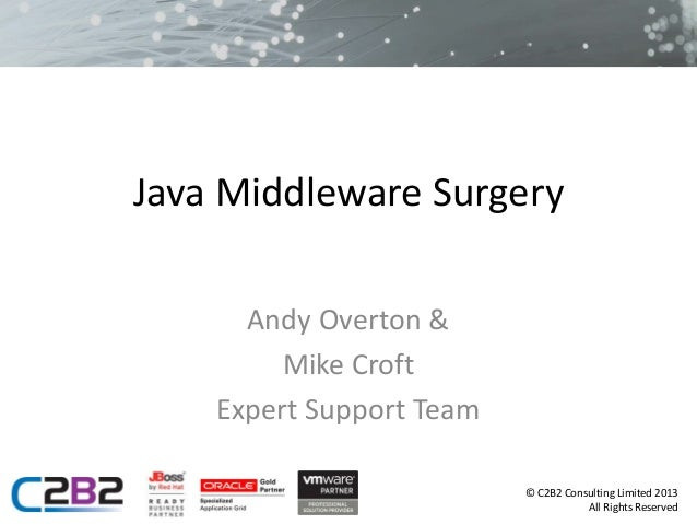 Java Middleware Surgery Andy Overton & Mike Croft Expert Support Team © C2B2 Consulting Limited 2013 All Rights Reserved