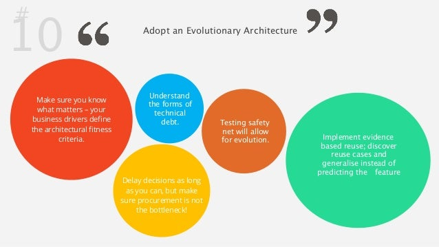 # 10 Adopt an Evolutionary Architecture  Make sure you know  what matters – your  business drivers define  the architectur...