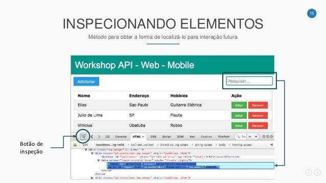 15 INSPECIONANDO ELEMENTOS Método para obter a forma de localizá-lo para interação futura Botão de inspeção