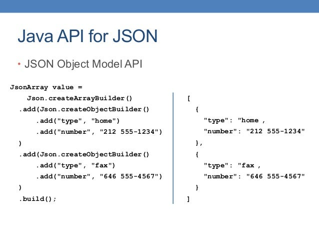 """Java API for JSON • JSON Object Model API [ { """"type"""": """"home , """"number"""": """"212 555-1234"""" }, { """"type"""": """"fax , """"number"""": """"646 ..."""