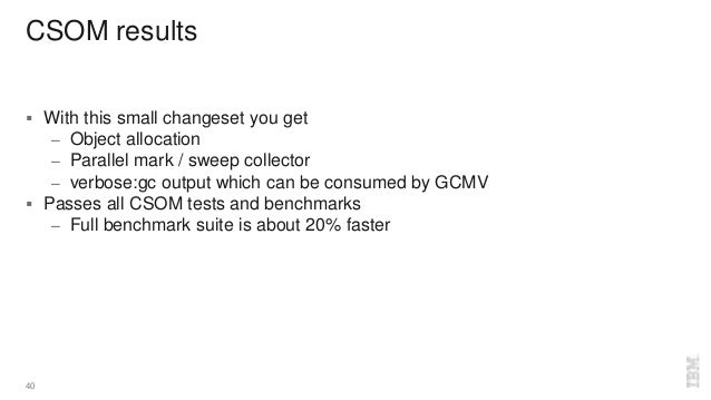 CSOM results  With this small changeset you get – Object allocation – Parallel mark / sweep collector – verbose:gc output...