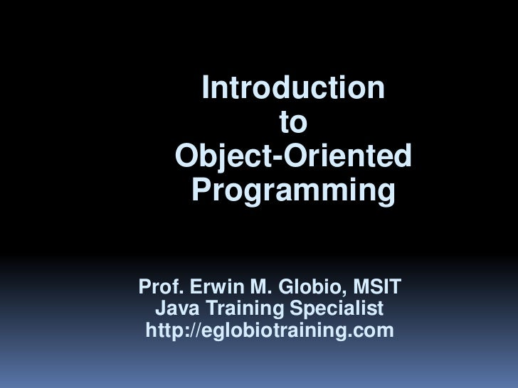 Lesson 1               Introduction                     to              Object-Oriented               Programming         ...