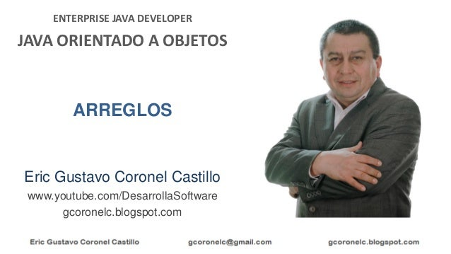 ENTERPRISE JAVA DEVELOPER JAVA ORIENTADO A OBJETOS Eric Gustavo Coronel Castillo www.youtube.com/DesarrollaSoftware gcoron...