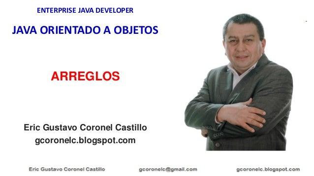 ENTERPRISE JAVA DEVELOPER JAVA ORIENTADO A OBJETOS Eric Gustavo Coronel Castillo gcoronelc.blogspot.com ARREGLOS