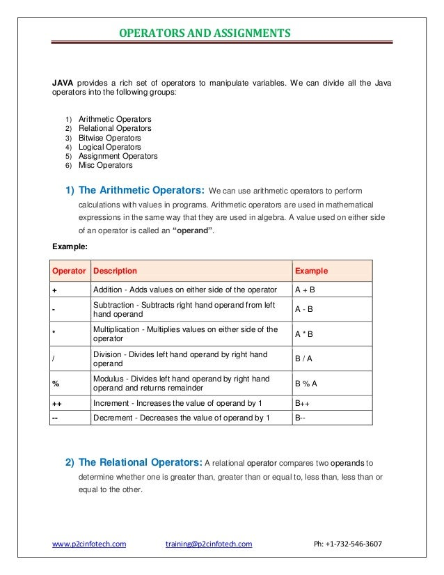 OPERATORS AND ASSIGNMENTS  JAVA provides a rich set of operators to manipulate variables. We can divide all the Java opera...