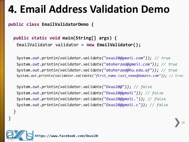 Validating email address in java using regular expression in java