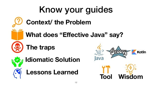 """Know your guides Context/ the Problem What does """"Effective Java"""" say? The traps Idiomatic Solution Lessons Learned Tool Wis..."""