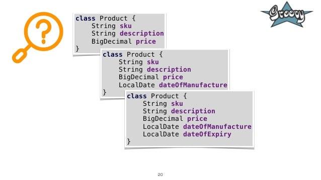 20 class Product { String sku String description BigDecimal price } class Product { String sku String description BigDecim...