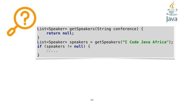 """40 List<Speaker> getSpeakers(String conference) { return null; } List<Speaker> speakers = getSpeakers(""""I Code Java Africa""""..."""