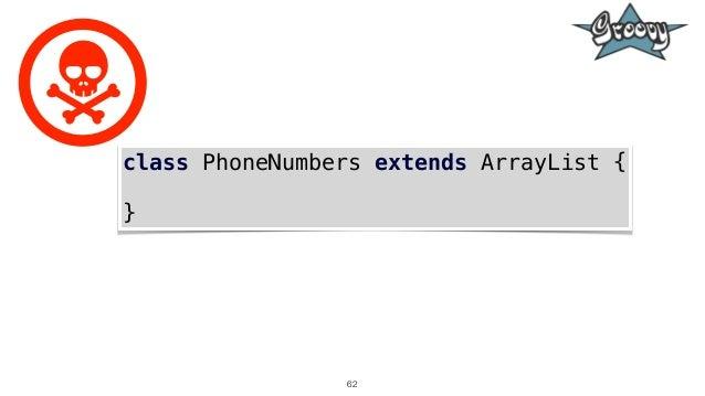62 class PhoneNumbers extends ArrayList { }
