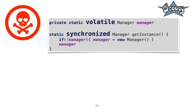 75 private static volatile Manager manager static synchronized Manager getInstance() { if(!manager){ manager = new Manager...