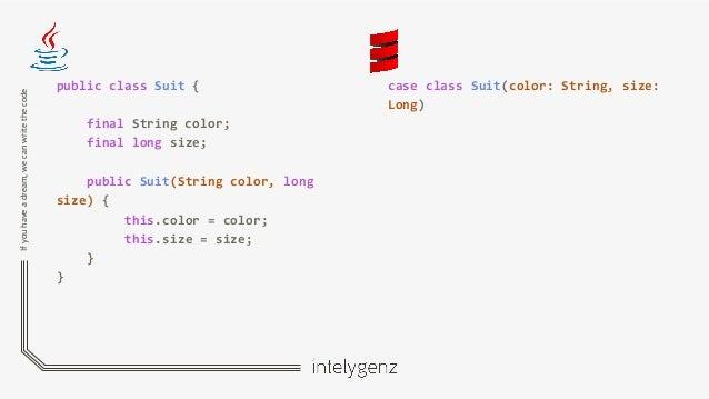 Ifyouhaveadream,wecanwritethecode public class Suit { final String color; final long size; public Suit(String color, long ...