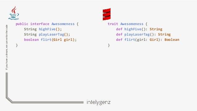 Ifyouhaveadream,wecanwritethecode public interface Awesomeness { String highFive(); String playLaserTag(); boolean flirt(G...