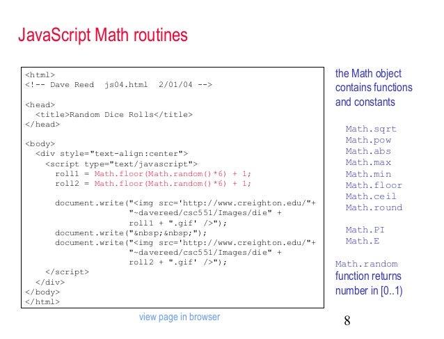 ... 8. JavaScript Math ...
