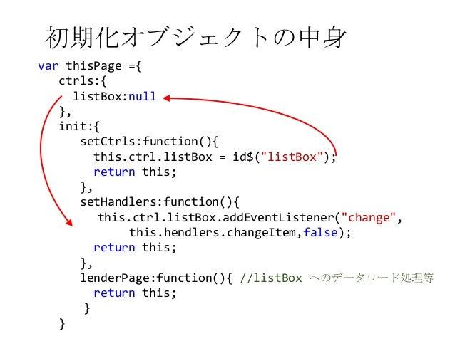 """初期化オブジェクトの中身var thisPage ={ctrls:{listBox:null},init:{setCtrls:function(){this.ctrl.listBox = id$(""""listBox"""");return this;}..."""