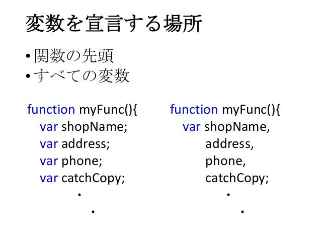 変数を宣言する場所•関数の先頭•すべての変数function myFunc(){var shopName;var address;var phone;var catchCopy;・・function myFunc(){var shopName,...