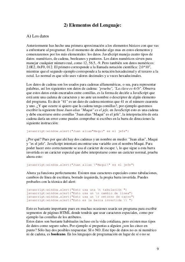 92) Elementos del Lenguaje:A) Los datosAnteriormente has hecho una primera aproximación a los elementos básicos con que va...