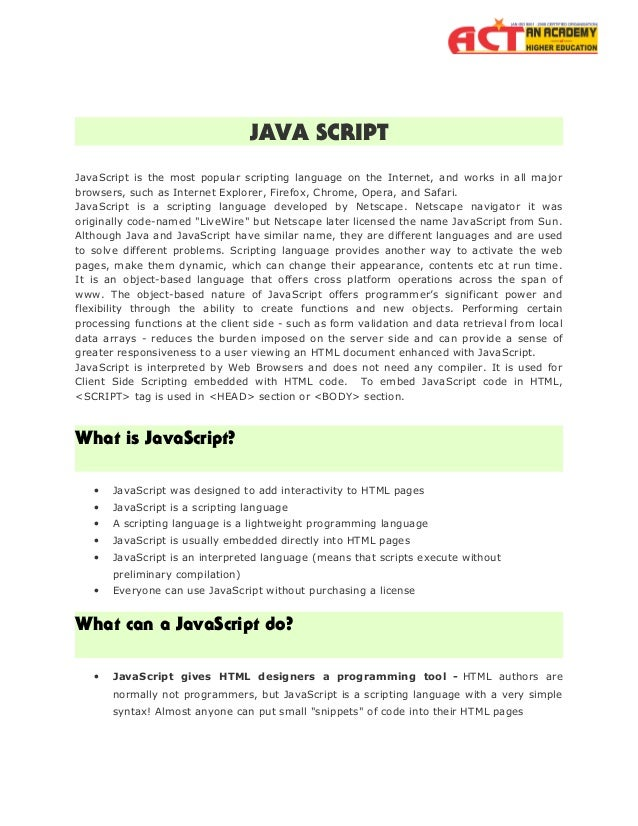 Java script by Act Academy Slide 2