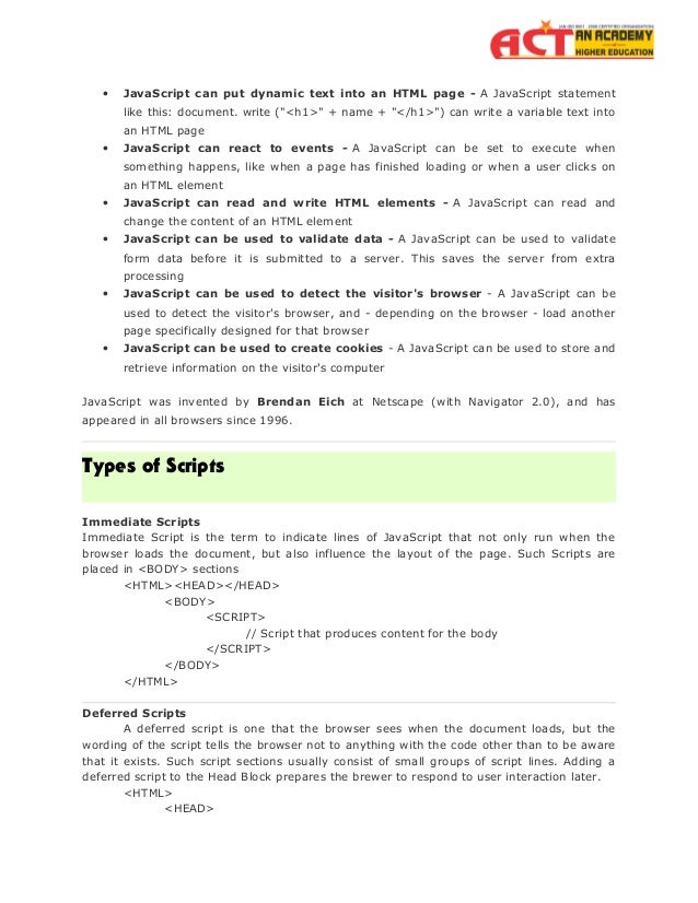 Java script by Act Academy Slide 3