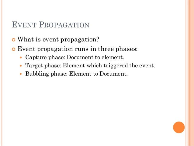 EVENT PROPAGATION   What is event propagation?   Event propagation runs in three phases:   Capture phase: Document to e...