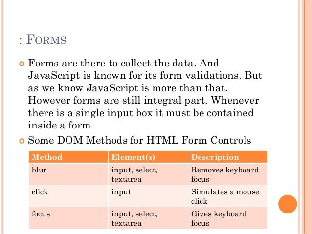 : FORMS   Forms are there to collect the data. And  JavaScript is known for its form validations. But  as we know JavaScr...