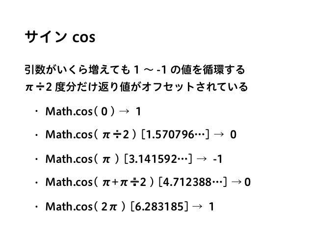 サイン cos 引数がいくら増えても 1 ∼ -1 の値を循環する π➗2 度分だけ返り値がオフセットされている • Math.cos( 0 ) → 1 • Math.cos( π➗2 ) [1.570796…] → 0 • Math.cos...