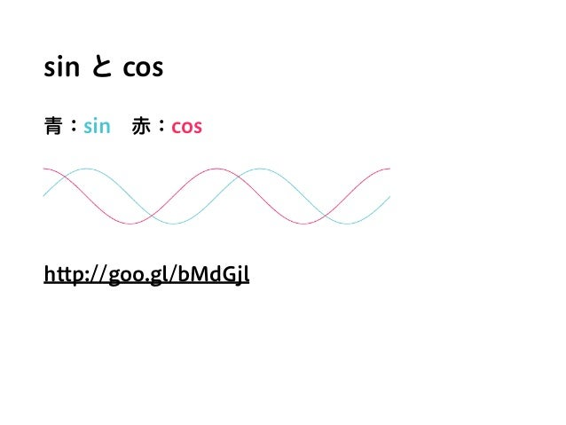 sin と cos 青:sin赤:cos http://goo.gl/bMdGjl