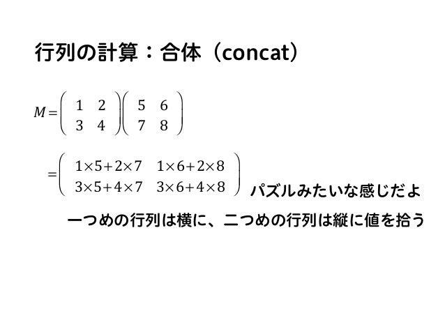 行列の計算:合体(concat) M = 1 2 3 4 ⎛ ⎝ ⎜ ⎞ ⎠ ⎟ 5 6 7 8 ⎛ ⎝ ⎜ ⎞ ⎠ ⎟ = 1×5+2×7 1×6+2×8 3×5+4×7 3×6+4×8 ⎛ ⎝ ⎜ ⎞ ⎠ ⎟ 一つめの行列は横に、二つめの行...