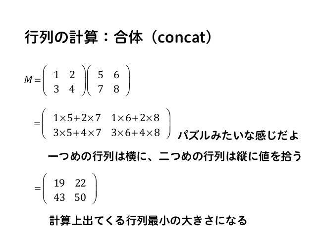 行列の計算:合体(concat) M = 1 2 3 4 ⎛ ⎝ ⎜ ⎞ ⎠ ⎟ 5 6 7 8 ⎛ ⎝ ⎜ ⎞ ⎠ ⎟ = 1×5+2×7 1×6+2×8 3×5+4×7 3×6+4×8 ⎛ ⎝ ⎜ ⎞ ⎠ ⎟ = 19 22 43 50 ⎛...