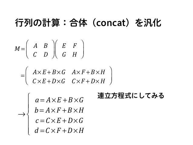 行列の計算:合体(concat)を汎化 連立方程式にしてみる = A× E + B ×G A× F + B × H C × E + D×G C × F + D× H ⎛ ⎝ ⎜ ⎞ ⎠ ⎟ M = A B C D ⎛ ⎝ ⎜ ⎞ ⎠ ⎟ E F...