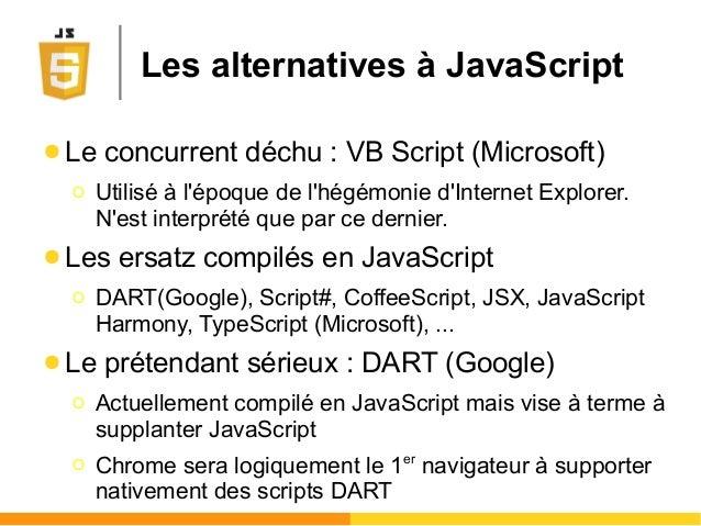 Les alternatives à JavaScript ● Le concurrent déchu : VB Script (Microsoft) Ο Utilisé à l'époque de l'hégémonie d'Internet...