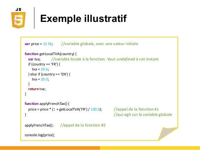 Exemple illustratif var price = 12.56; //variable globale, avec une valeur initiale function getLocalTVA(country) { var tv...