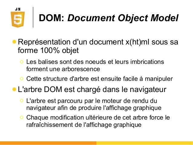 DOM: Document Object Model ● Représentation d'un document x(ht)ml sous sa forme 100% objet Ο Les balises sont des noeuds e...
