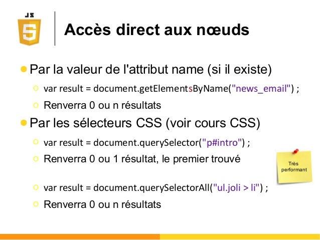 """Accès direct aux nœuds ● Par la valeur de l'attribut name (si il existe) Ο var result = document.getElementsByName(""""news_e..."""