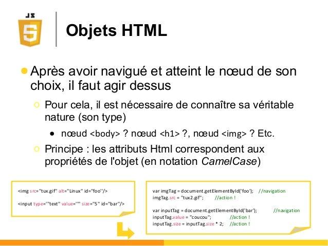 Objets HTML ● Après avoir navigué et atteint le nœud de son choix, il faut agir dessus Ο Pour cela, il est nécessaire de c...