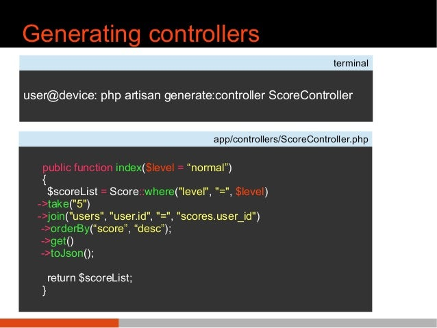 Generating controllers terminal user@device: php artisan generate:controller ScoreController app/controllers/ScoreControll...