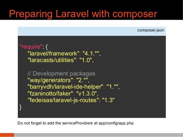 "Preparing Laravel with composer composer.json ""require"": { ""laravel/framework"": ""4.1.*"", ""laracasts/utilities"": ""1.0"", // ..."