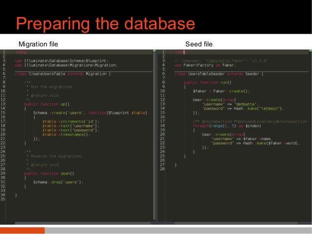 Preparing the database ● Migration files for users/score table ● Seeding with faker terminal user@device: php artisan migr...