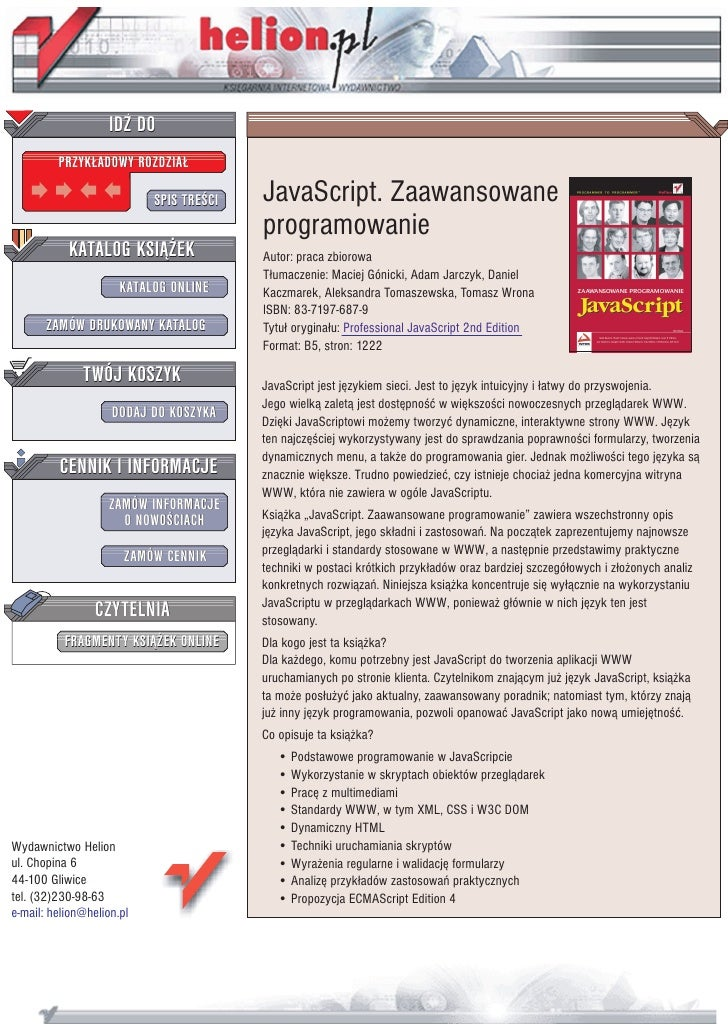 IDZ DO          PRZYK£ADOWY ROZDZIA£                             SPIS TRE CI   JavaScript. Zaawansowane                   ...