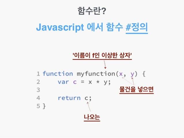 함수란? Javascript 에서 함수 #정의 '이름이 f인 이상한 상자' 물건을 넣으면 나오는
