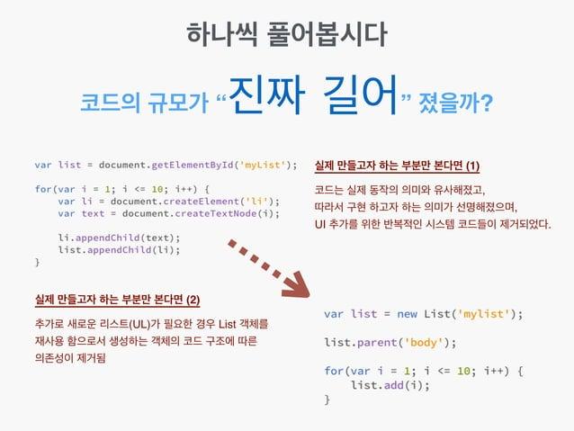 """코드의 규모가 """"진짜 길어"""" 졌을까? 실제 만들고자 하는 부분만 본다면 (1) 코드는 실제 동작의 의미와 유사해졌고,! 따라서 구현 하고자 하는 의미가 선명해졌으며,! UI 추가를 위한 반복적인 시스템 코드들이 제거되..."""