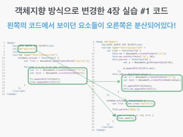 왼쪽의 코드에서 보이던 요소들이 오른쪽은 분산되어있다! 객체지향 방식으로 변경한 4장 실습 #1 코드