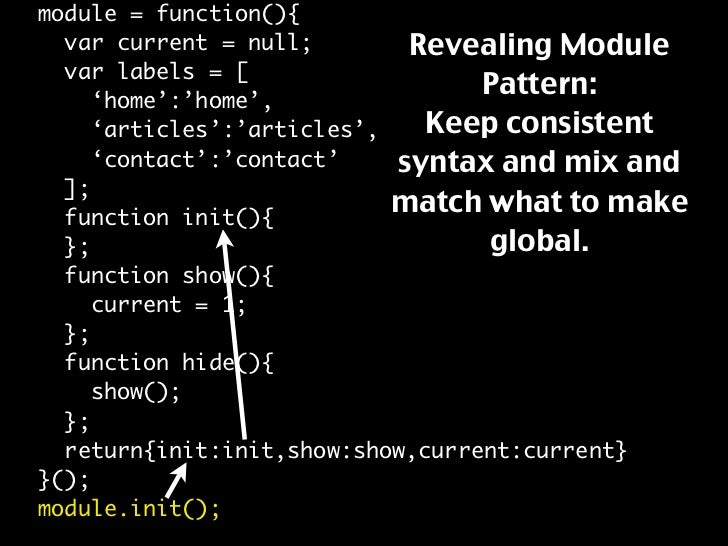 module = function(){                              Revealing Module   var current = null;   var labels = [                 ...